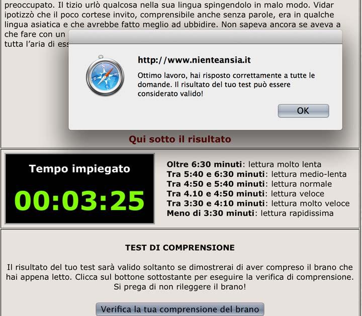 Anche io ho fatto il test... e questo è il mio risultato... per essere le 23:10 non è male, magari riprovo di mattina che sono più lucida!