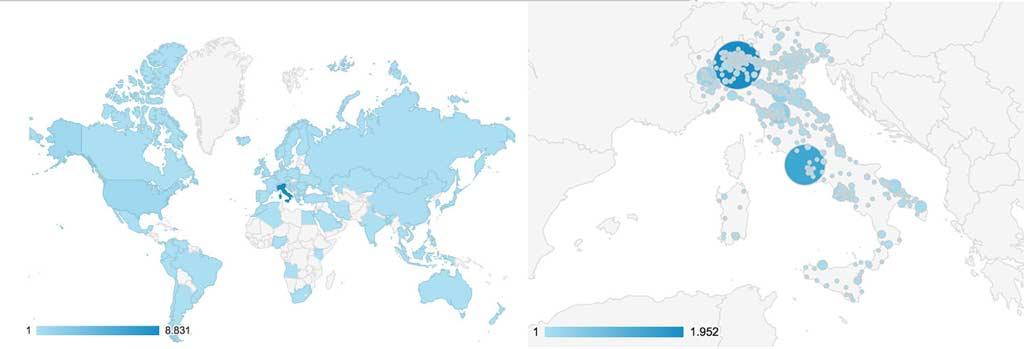 Distribuzione geografica dei visitatori unici del mese di maggio 2015 di Perlage Suite. Su 11.011 visitatori unici totali, 8.831 sono italiani ed in particolare oltre 2000 sono di Milano.